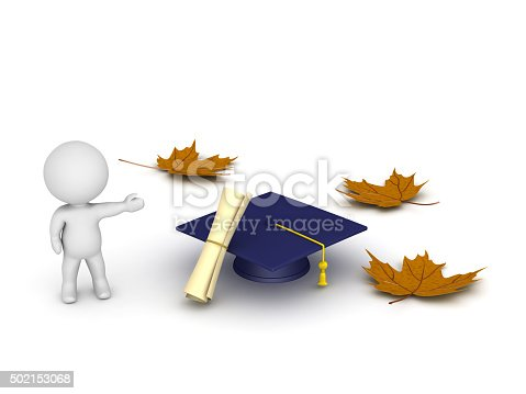 istock 3D Character Showing Graduation Cap Diploma and Autumn Leaves 502153068