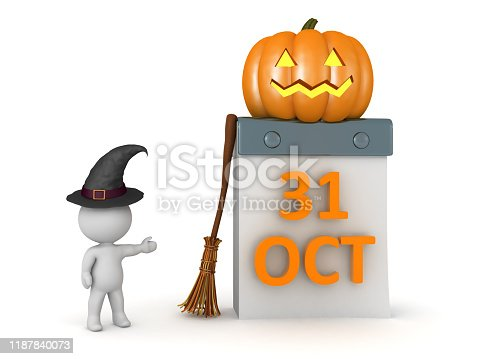 3D Character showing Halloween concept image. 3D Rendering isolated on white.