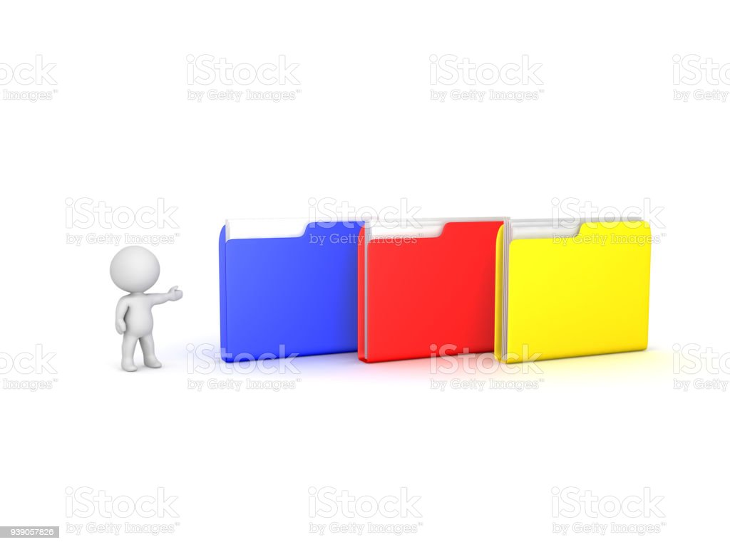 3D Character showing multiple colored folders. stock photo