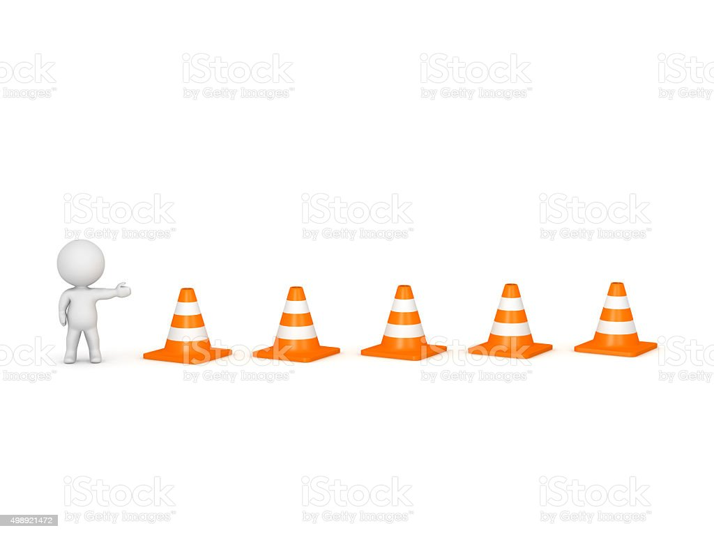 3D Character Showing Road Cones stock photo