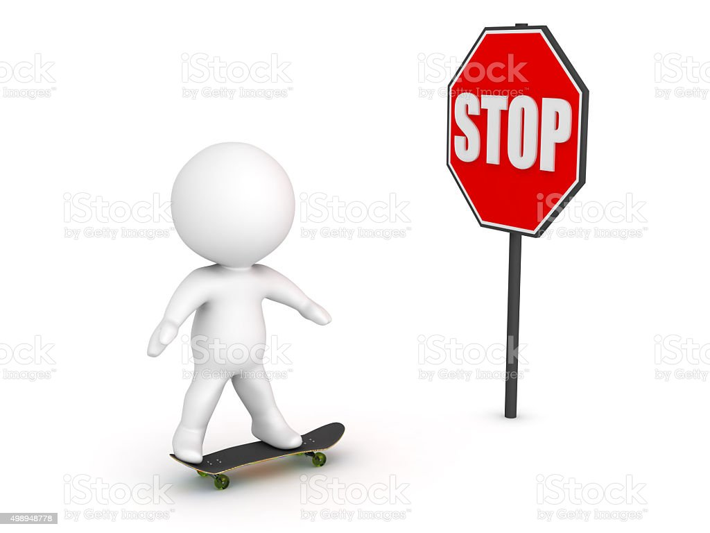 3D Character Skateboarding and Stop Sign stock photo