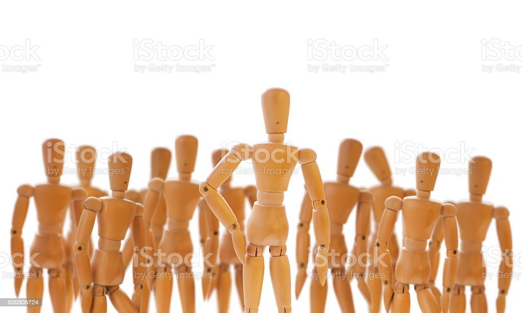 Character standing in front of a crowd stock photo
