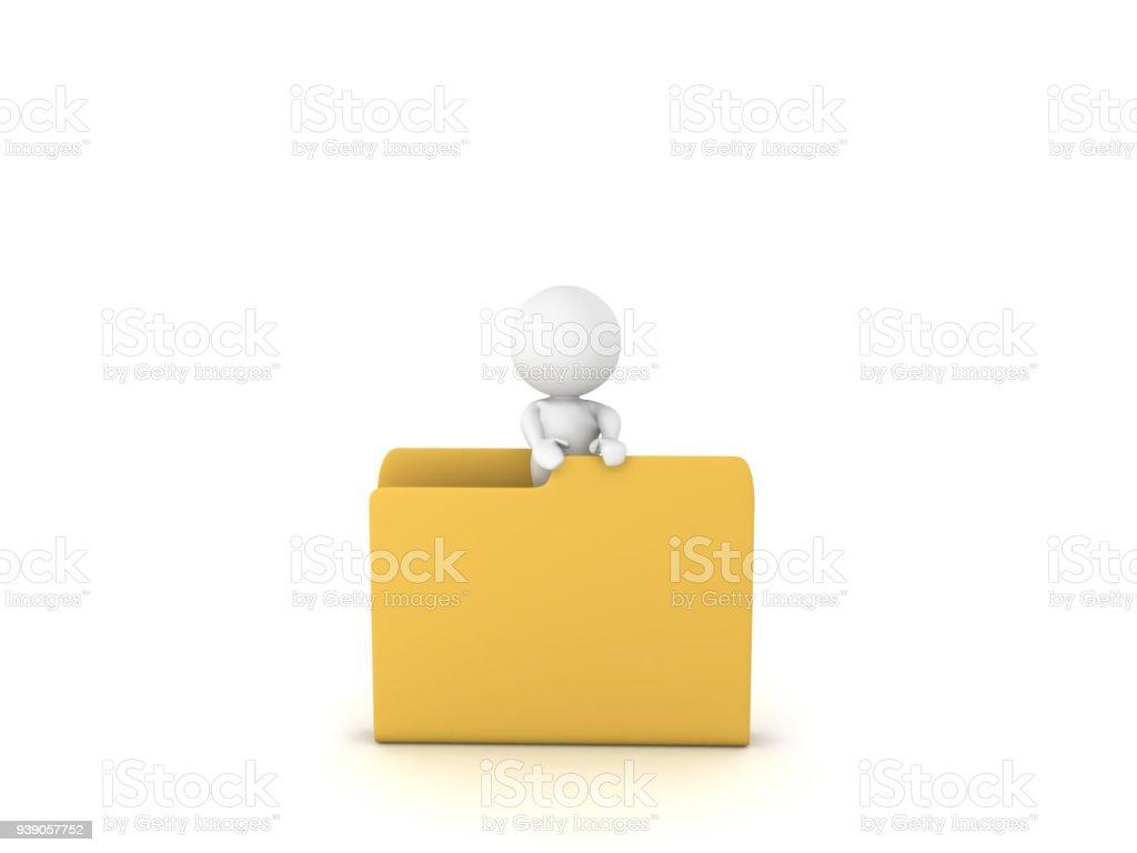 3D Character standing inside folder stock photo