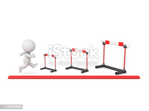 3D Character tackling increasingly larger hurdles. 3D Rendering isolated on white.