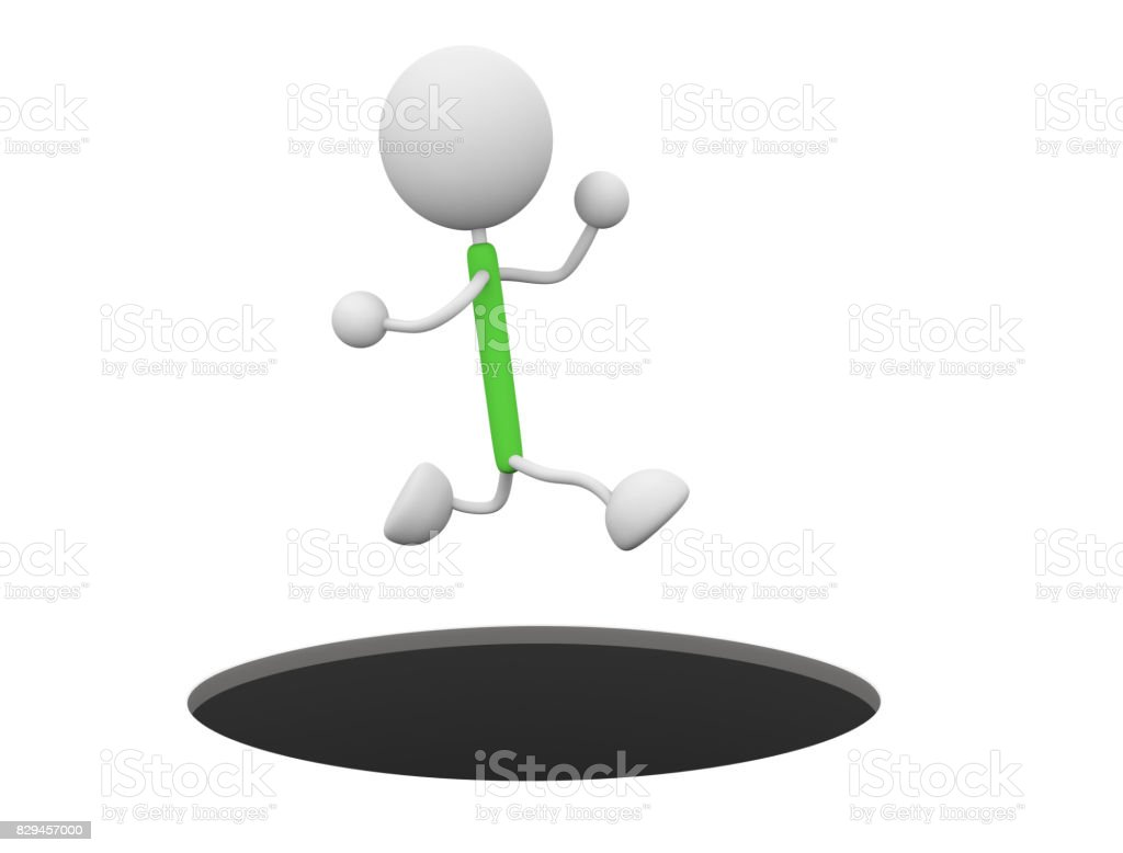 Character to jump stock photo