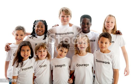 Ten children wearing shirts with character traits. - Buy credits