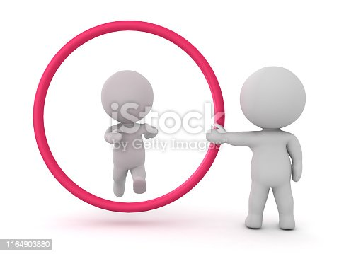 3D Character trying to jump through big red circle held by another person. 3D Rendering isolated on white.