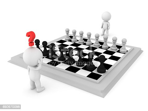 3D Character trying to make a move against his opponent at a gane of chess