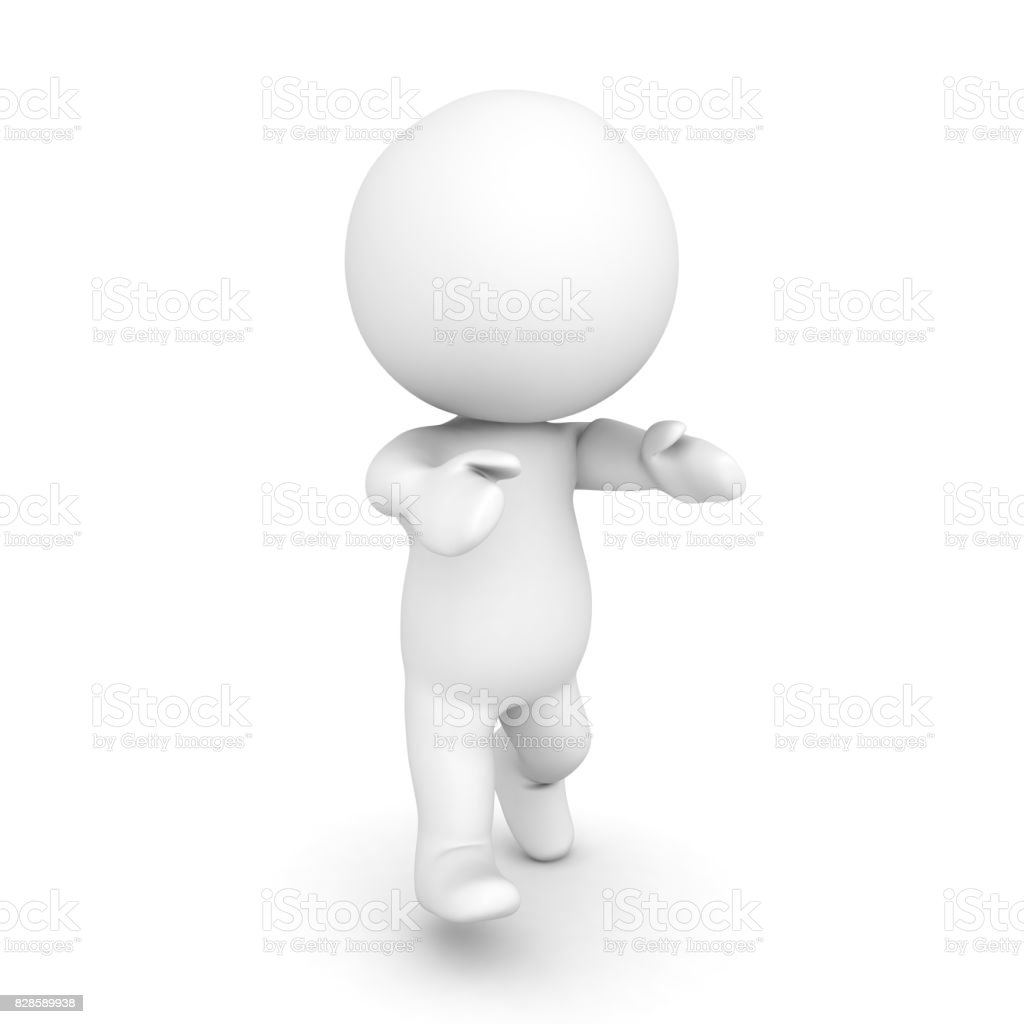 3D Character walking  like zombie with his arms In front stock photo