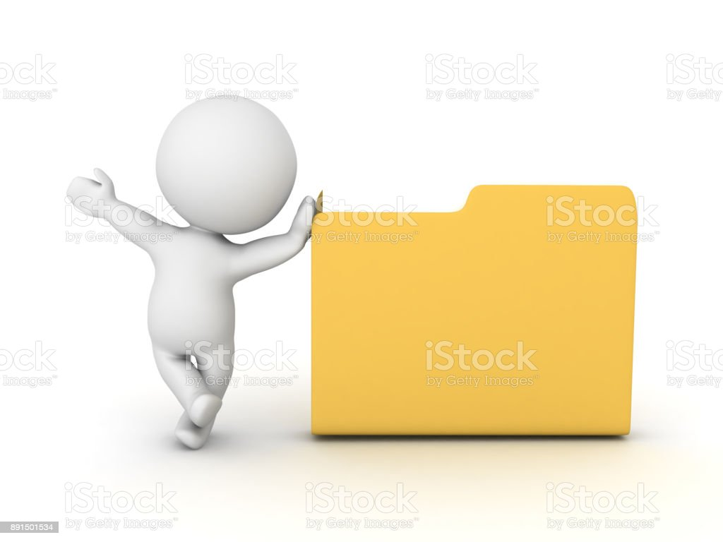 3D Character waving and leaning on file folder stock photo