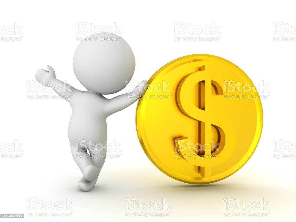 3D Character waving and leaning on golden dollar coin stock photo