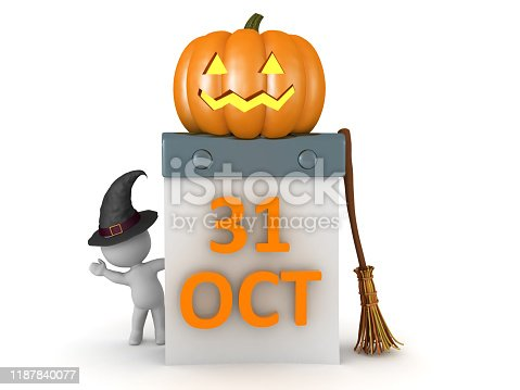 3D Character waving from behind calendar showing Halloween date. 3D Rendering isolated on white.