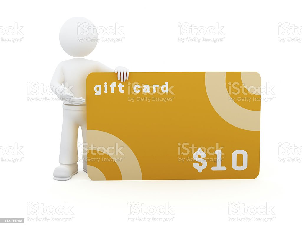 3D character with 10$ gift card. stock photo