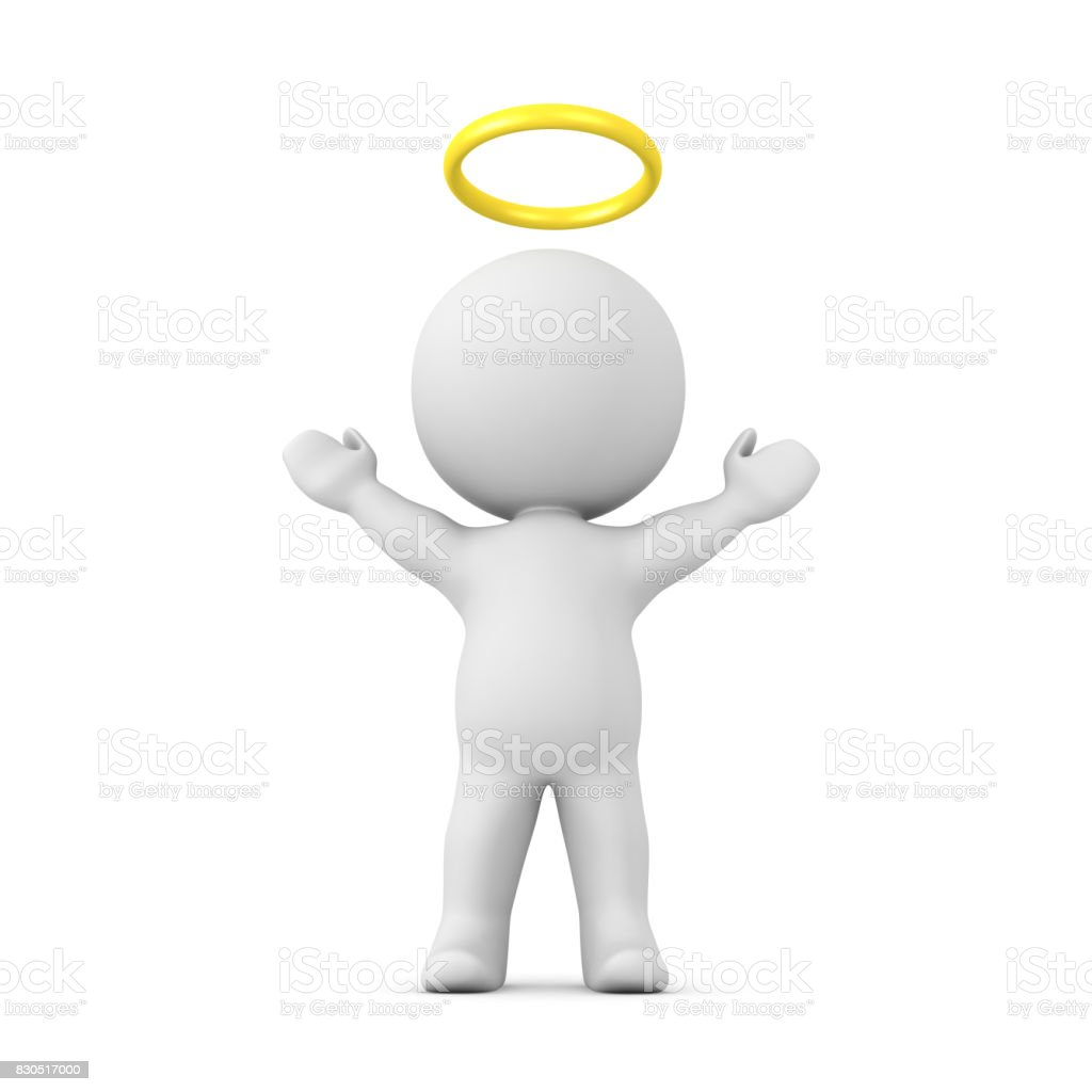 3D Character with a gold halo above his head with his arms raised stock photo