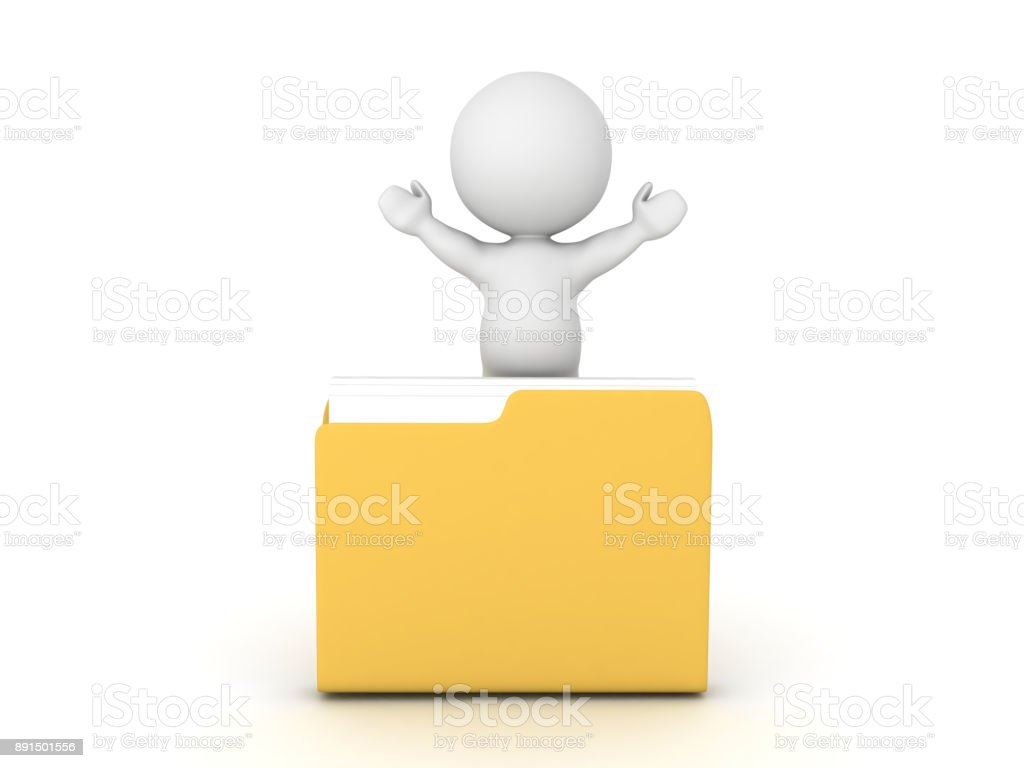 3D Character with arms raised sitting inside a folder stock photo
