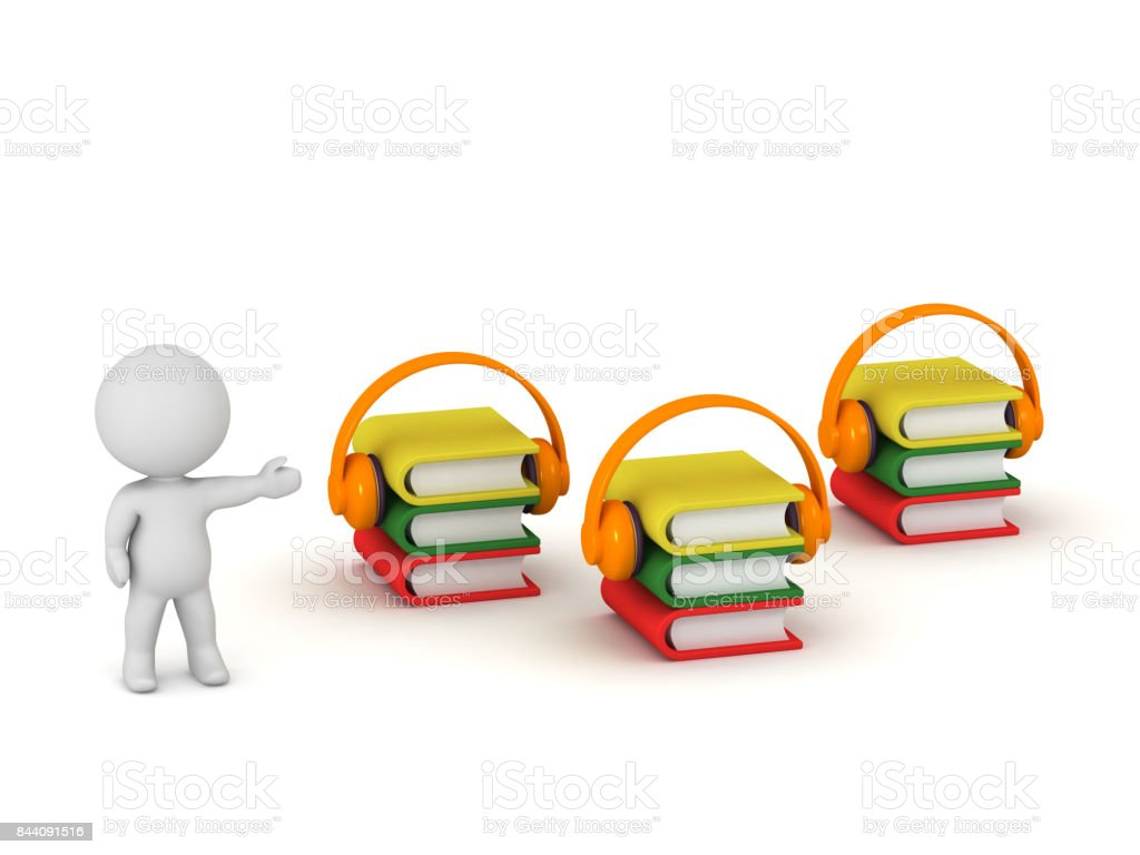 3D Character with Audiobooks stock photo
