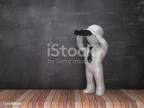 Character with Binoculars on Wood Floor - Chalkboard Background - 3D Rendering