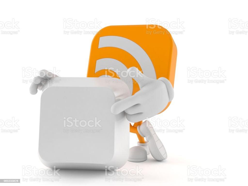 Caractère de flux RSS avec la touche du clavier blanc - Photo de Bouton poussoir libre de droits