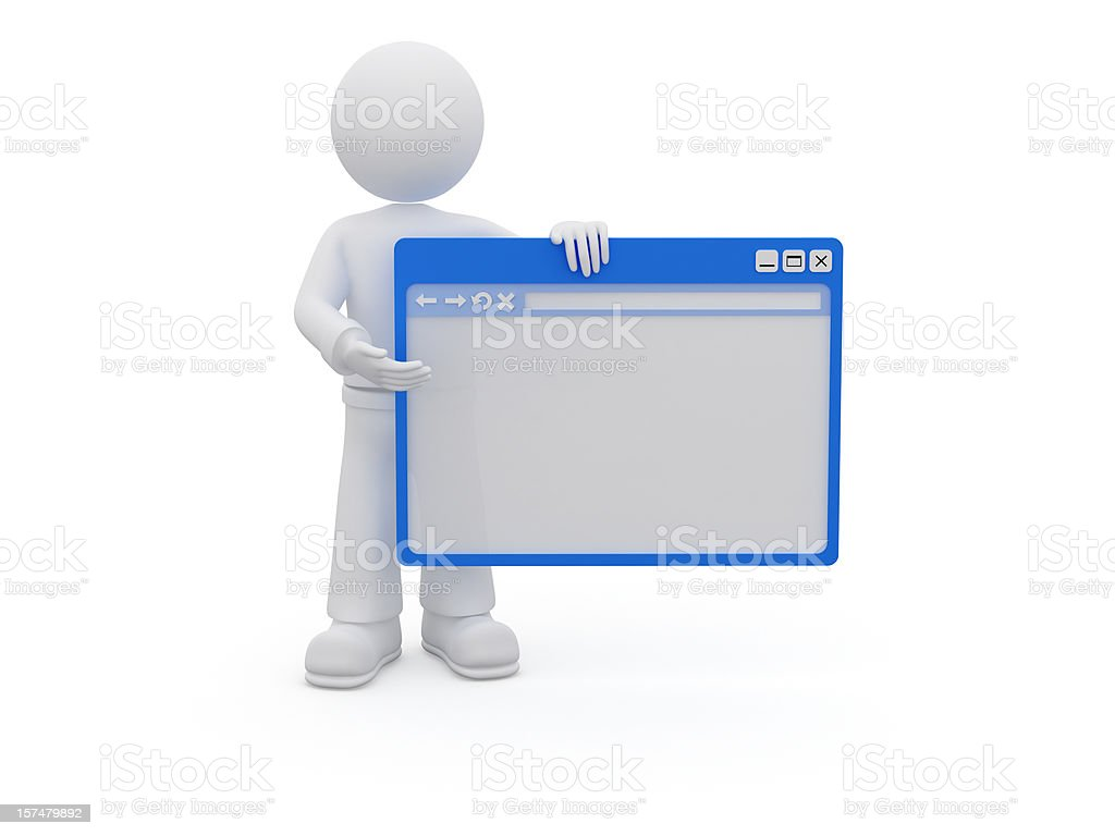 3D character with browser window. royalty-free stock photo