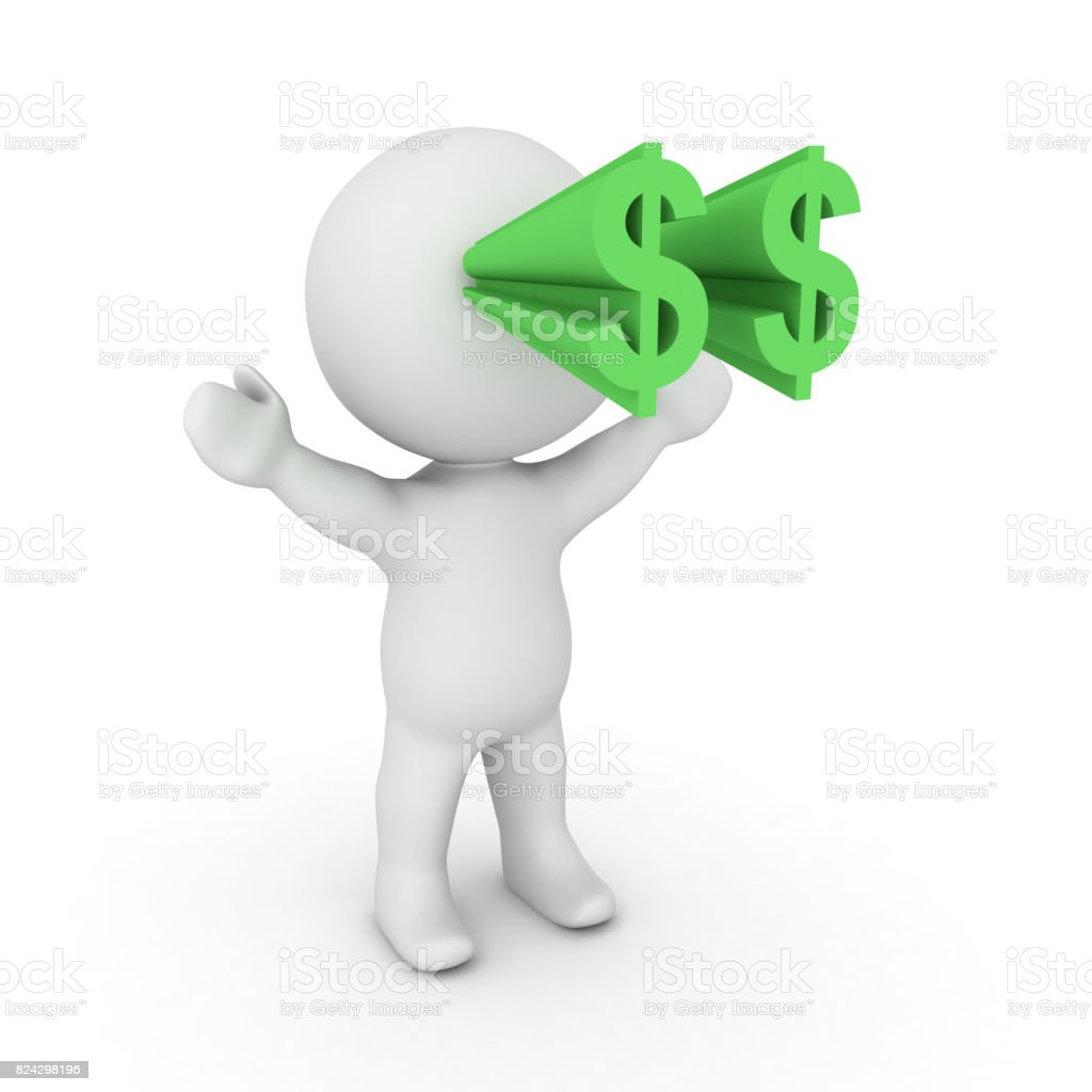 3D Character with dollar symbols popping out of his eyes stock photo