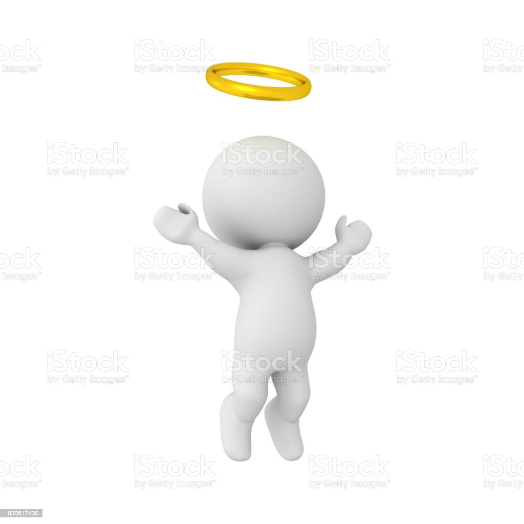 3D Character with golden halo ascending to heaven stock photo