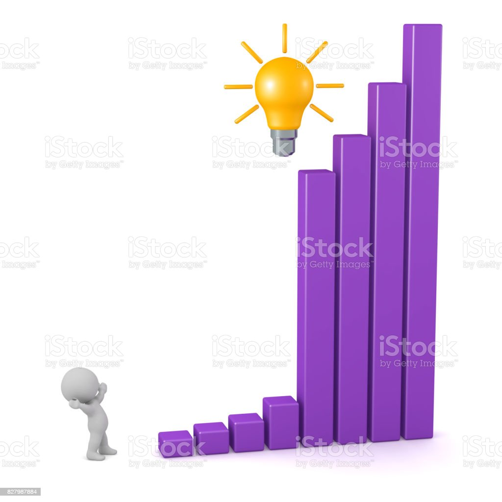 3D Character with Good Idea and Bar Chart Showing Growth stock photo
