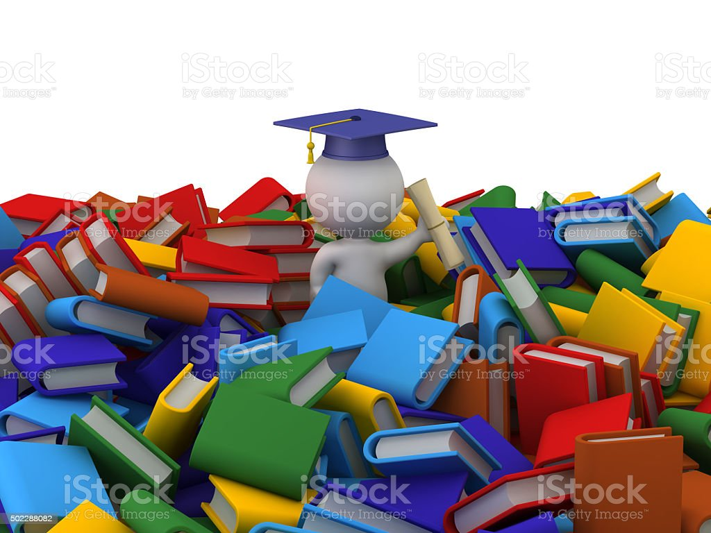 3D Character with Graduation Hat, Diploma, and Pile of books stock photo