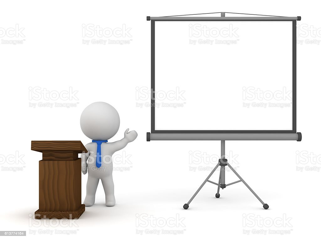 3D Character with Lectern and Projector Screen Holding a Speech stock photo