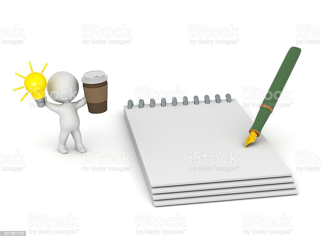 3D Character with Light Bulb Idea Coffee and Notepad stock photo