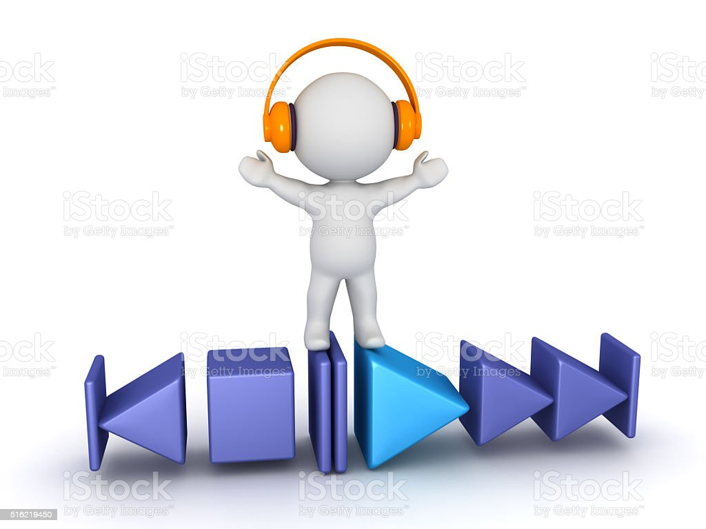 3D Character with Play Buttons and Headphones stock photo