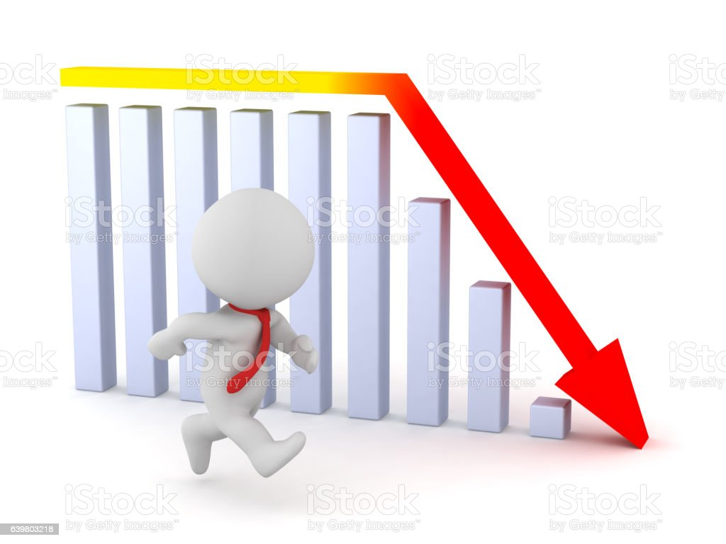 3D Character with Red Tie and Bad Chart stock photo