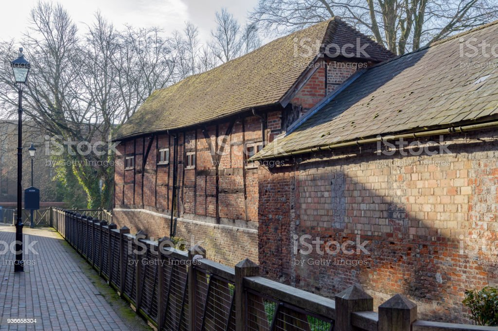 Characterful buildings by the River Wey at Alton in Hampshire stock photo