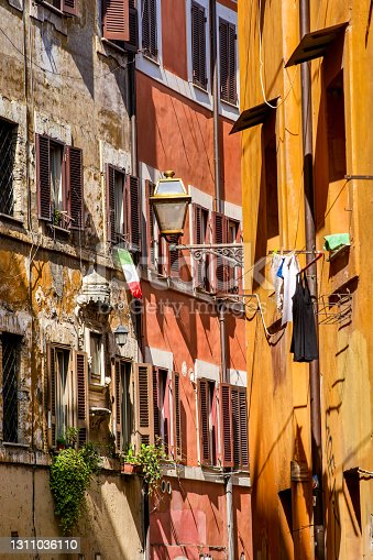 A characteristic and lovely alley in the ancient district of Trastevere, the most loved and visited Roman district by tourists. Trastevere owes its name to the Latin indication