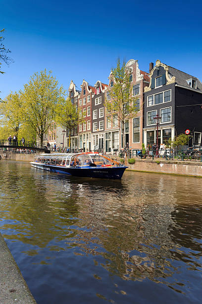 characteristic facades and gables of amsterdam canal houses - keizersgracht stockfoto's en -beelden