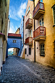 Characteristic narrow Dawna street in the Warsaw' Old Town, Poland
