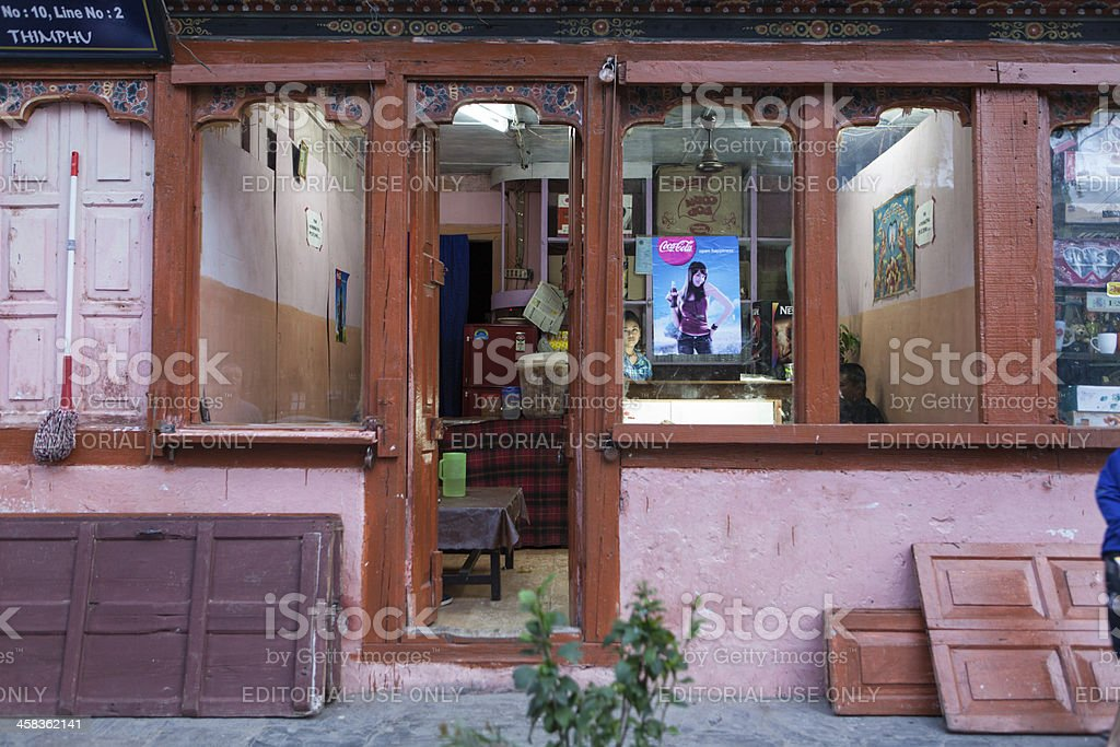 Characteristic shop in the centre of Thimphu foto