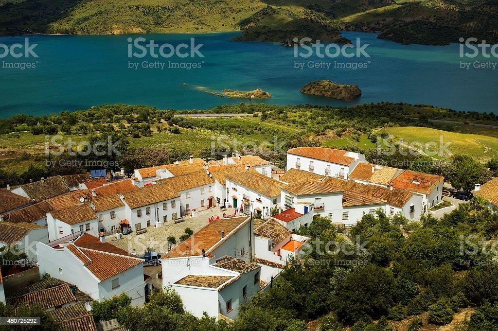 Characteristic white town Zahara, Pueblos Blancos, Andalusia, Spain stock photo