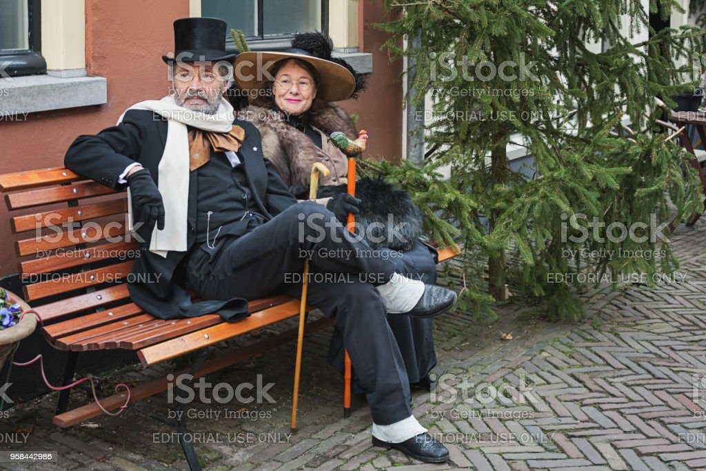 Characters acting during the Dickens Festival in Deventer stock photo