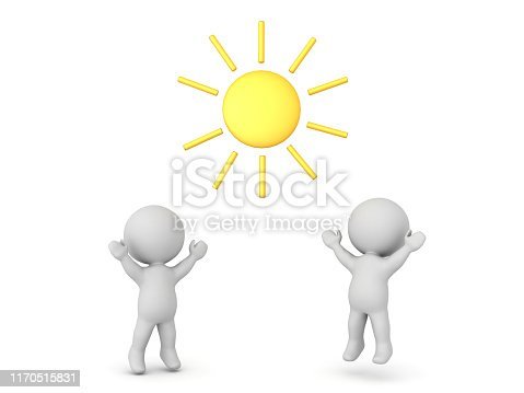 3D Characters are happy because it's sunny. Happy summer weather concept. 3D Rendering isolated on white.