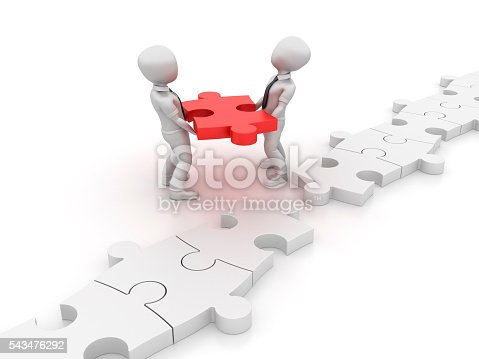 istock Characters Carrying a Jigsaw Piece 543476292