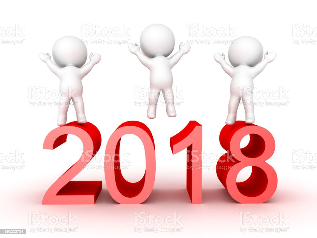 3D Characters celebrating the new year of 2018 stock photo