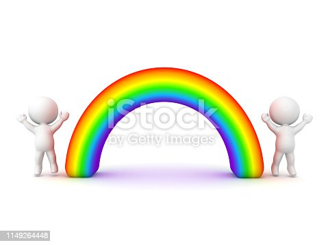 3D Characters jumping happily next to rainbow. 3D Rendering isolated on white.