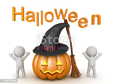 3D Characters jumping happy next to halloween themed objects. 3D Rendering isolated on white.