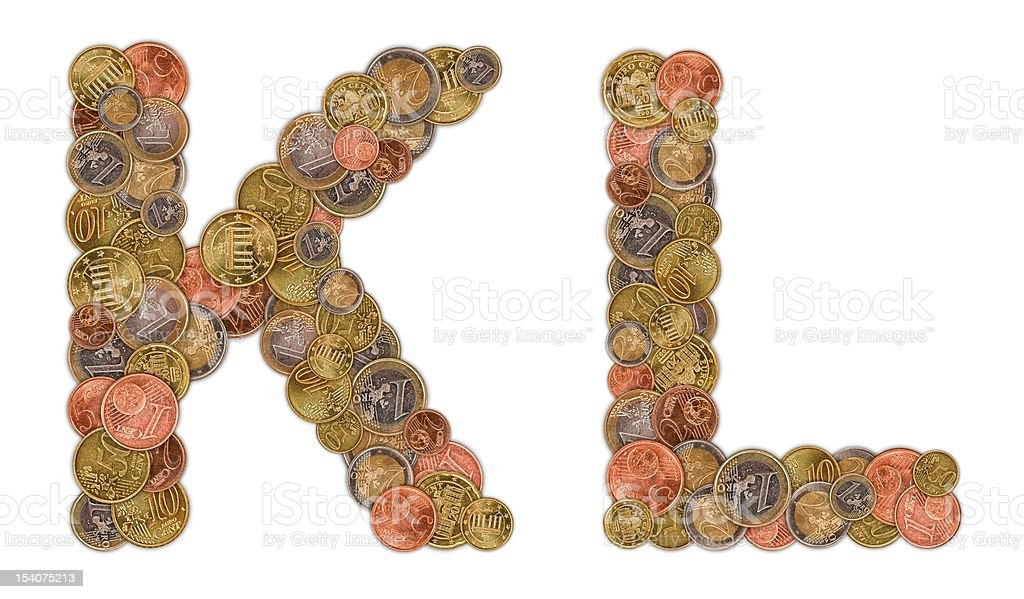 Characters K and L made of Euro coins royalty-free stock photo