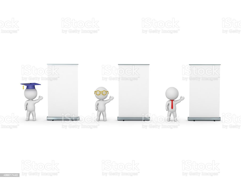3D Characters of Graduate, Teacher and Business-man Advertising stock photo