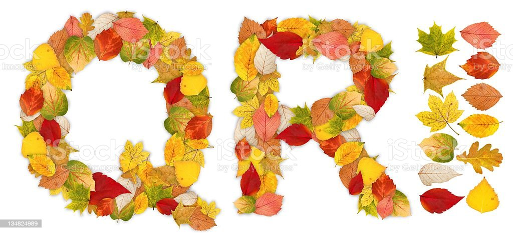 Characters Q and R made of autumn leaves stock photo