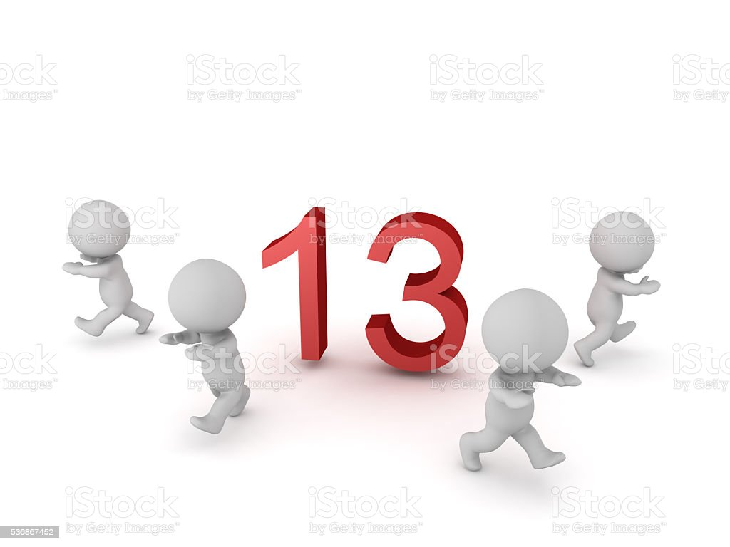 3D Characters Running Away from The Number 13 stock photo