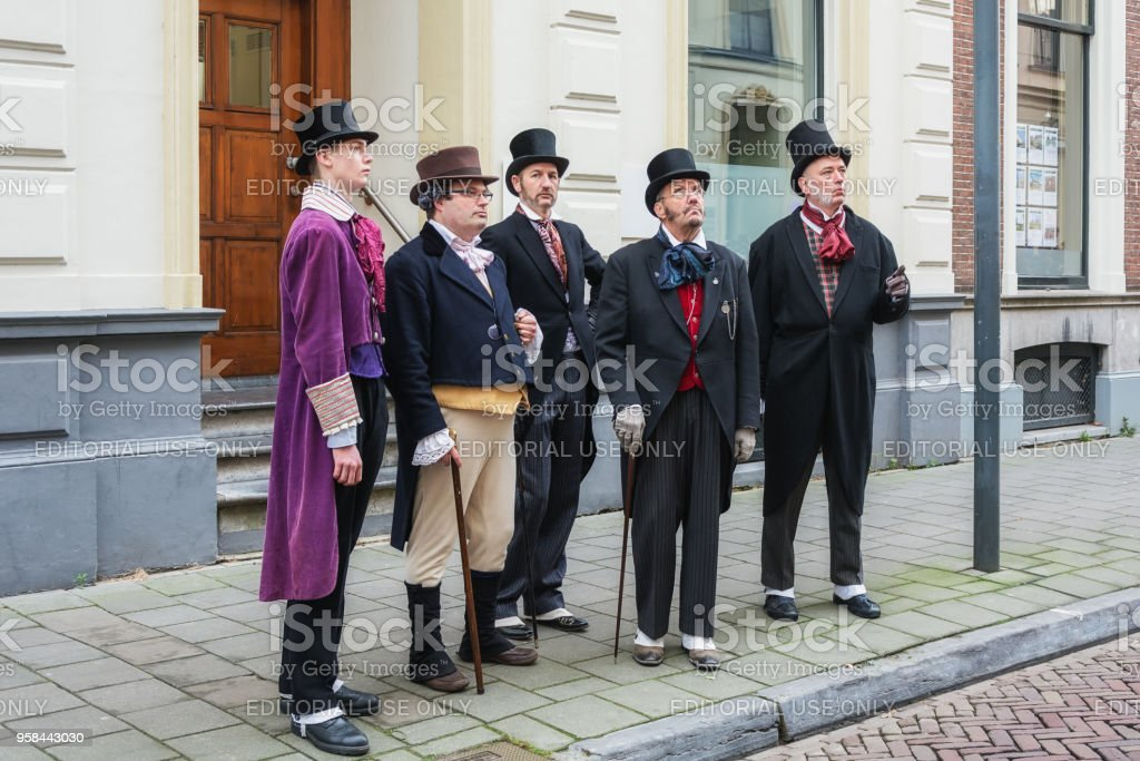 Characters singing during the Dickens Festival stock photo