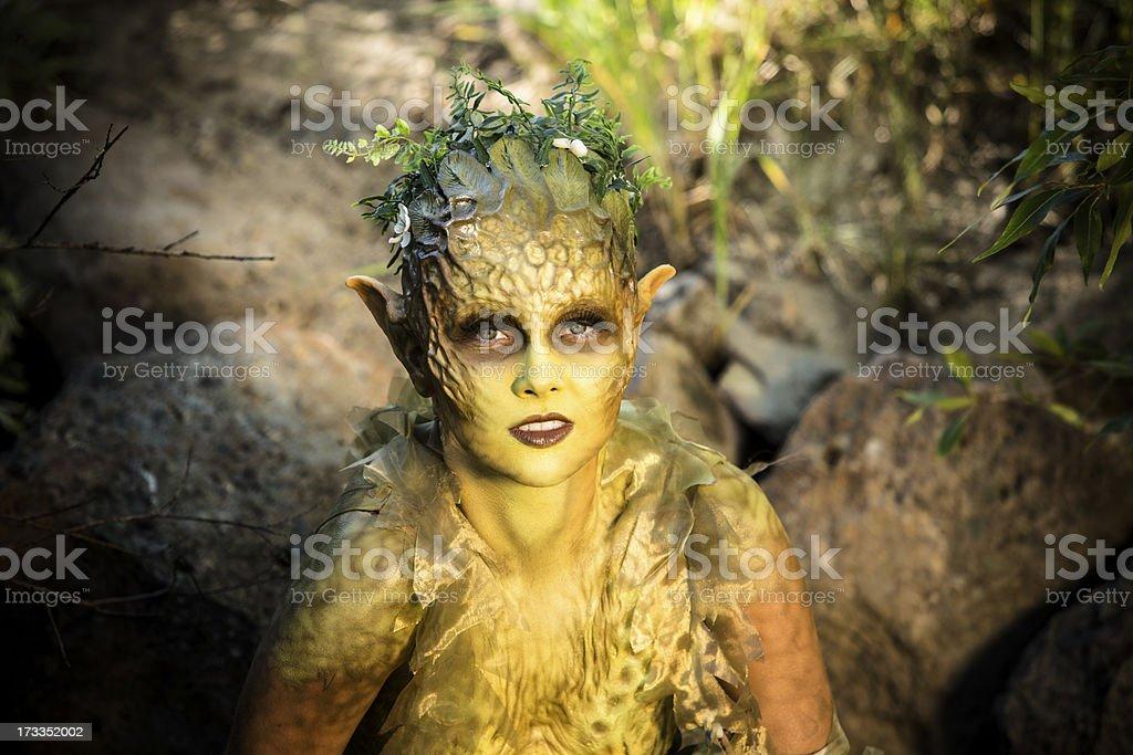 Characters: Water nymph looking at camera. Mystical close up. royalty-free stock photo