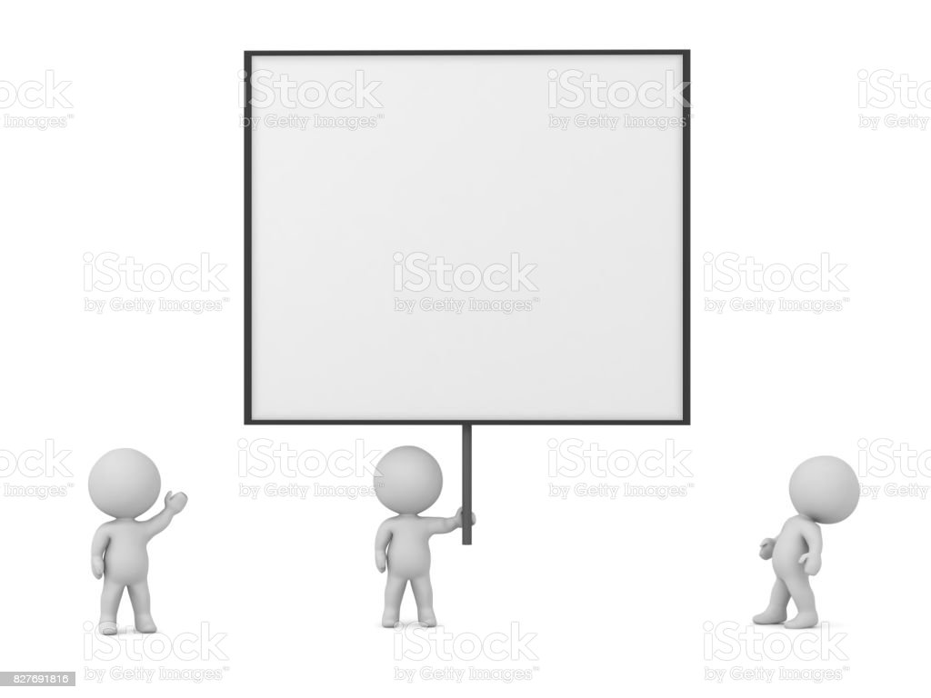 3D Characters With a Large Sign stock photo